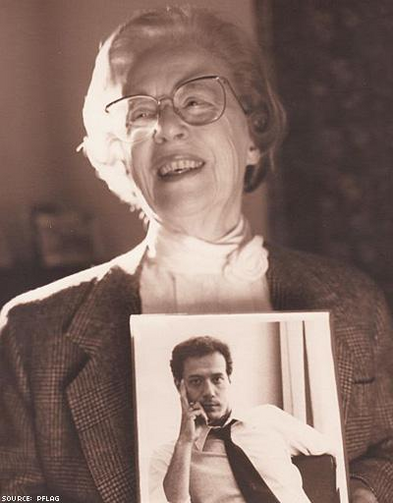 Jeanne Manford holds a photo of her son.