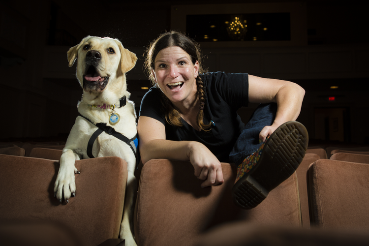 Judy McDonald with her service dog Daisy (NICK ABADILLA PHOTOGRAPHY: courtesy USD Magazine)