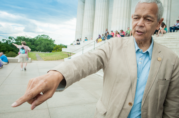 Julian Bond on location at the Lincoln Memorial in 2012