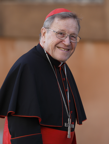 German Cardinal Walter Kasper arrives for a meeting of cardinals in the synod hall at the Vatican on Feb. 21.