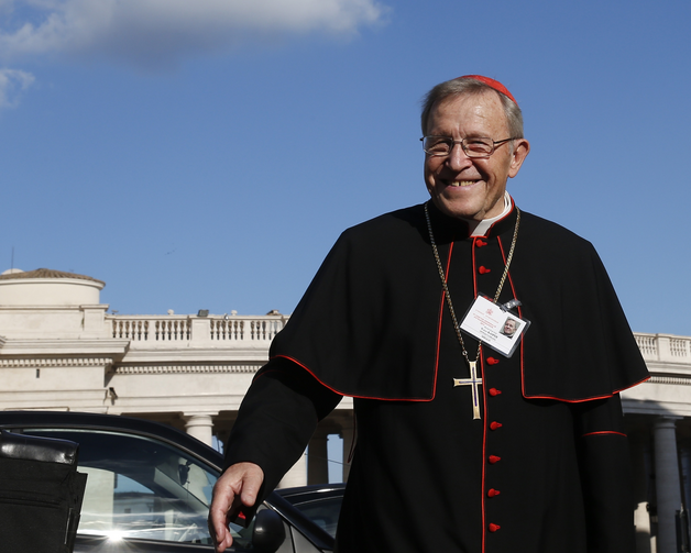 German Cardinal Walter Kasper, retired president of the Pontifical Council for Promoting Christian Unity, arrives for the concluding session of the extraordinary Synod of Bishops on the family at the Vatican in October 2014. (CNS photo/Paul Haring)