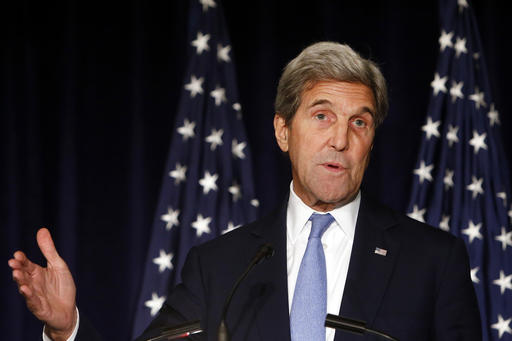 United States Secretary of State John Kerry delivers a statement following a meeting of the International Syria Support Group, Thursday, Sept. 22, 2016, in New York (AP Photo/Jason DeCrow).