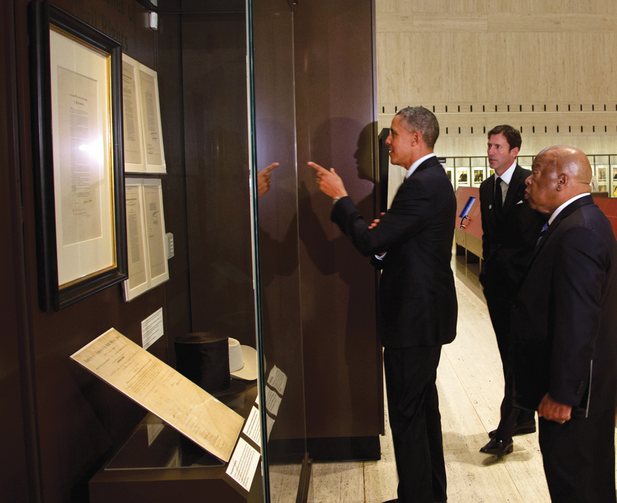 GOOD POINT. President Barack Obama and Representative John Lewis tour the Cornerstones of Civil Rights exhibit at the LBJ Presidential Library.