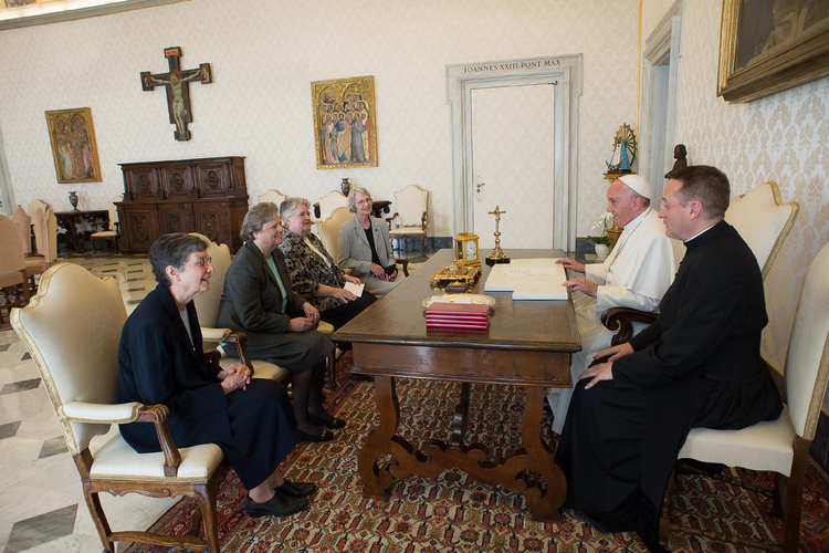 Pope Francis meets with representatives of the U.S. Leadership Conference of Women Religious in the Apostolic Palace at the Vatican April 16.