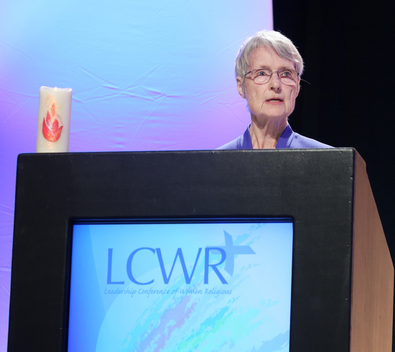 Sister Marcia Allen, a Sister of St. Joseph of Concordia, Kansas, and president of the Leadership Conference of Women Religious, delivers her address Aug. 10 to attendees at the LCWR assembly in Atlanta. (CNS photo/Michael Alexander, Georgia Bulletin)