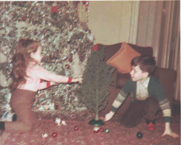 Once Upon a Christmas Time: The author and his adorable sister, under the Christmas Tree