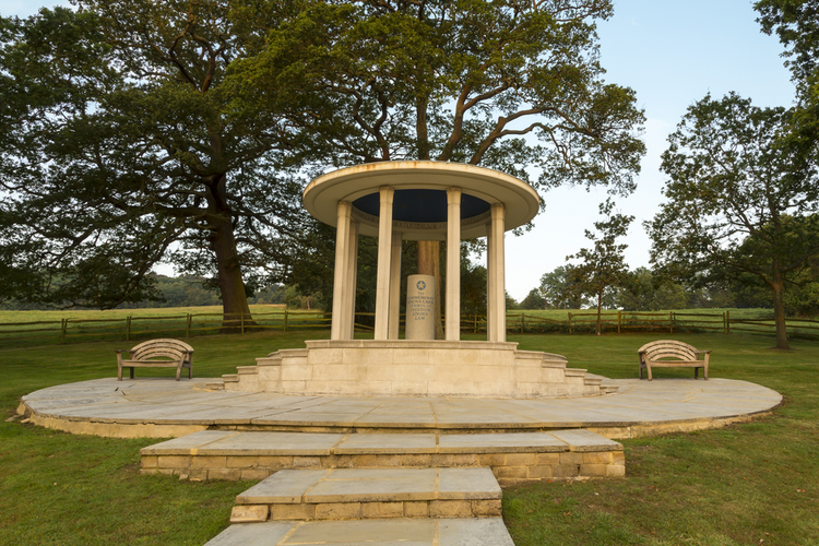 Magna Carta Memorial at Runnymede, Surrey, England, UK. The memorial was created by the American Bar Association in 1957