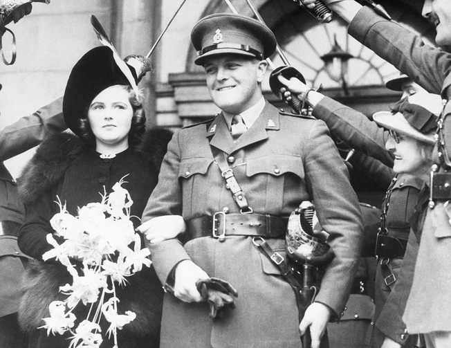 FRIEND OF JOE. Randolph Churchill, son of Winston Churchill, and his bride, Pamela Digby, leaving St. John's Church in London after their marriage on Oct. 10, 1939.