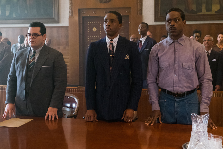 Josh Gad, Chadwick Bosman and Sterling K. Brown in 'Marshall' (Open Road Films)