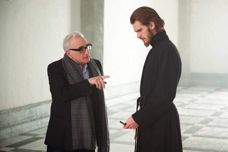 """Films were really my church,"" Andrew Garfield, pictured here with the director Martin Scorsese, said of his childhood, ""that is where I felt soothed, that is where I felt most myself"" (photo: Paramount Pictures)."