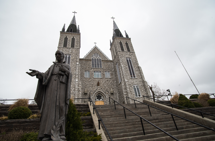 A statue of St. Isaac Jogues before the Martyr's Shrine, Midland, Ont., Canada. Photo by Michael Swan.