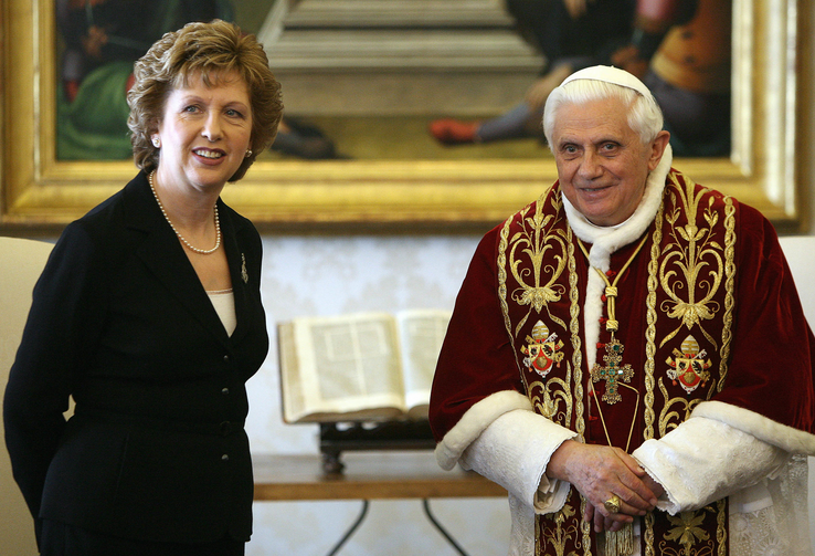In this March 23, 2007 photo, Pope Benedict XVI and Ireland President Mary McAleese pose for photographers prior to a private audience the pontiff granted her at the Vatican (AP Photo/Alberto Pizzoli, Pool, file).