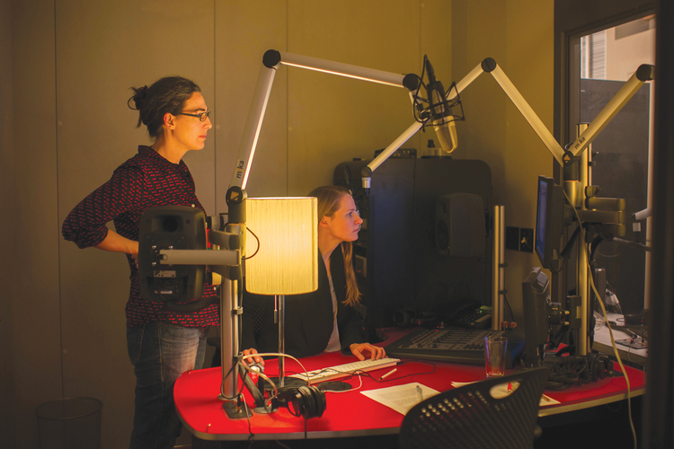 "Sarah Koenig and Dana Chivvis at work on ""Serial."""