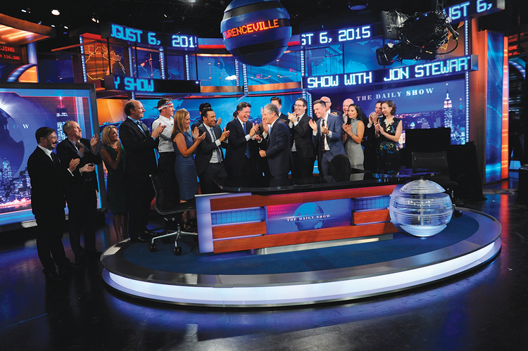"LAST CALL. Castmembers salute Jon Stewart on ""The Daily Show"" on August 6."