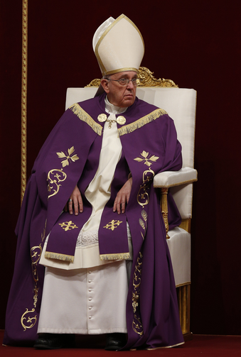 Pope Francis leads a Lenten penance service in St. Peter's Basilica at the Vatican, March 13.