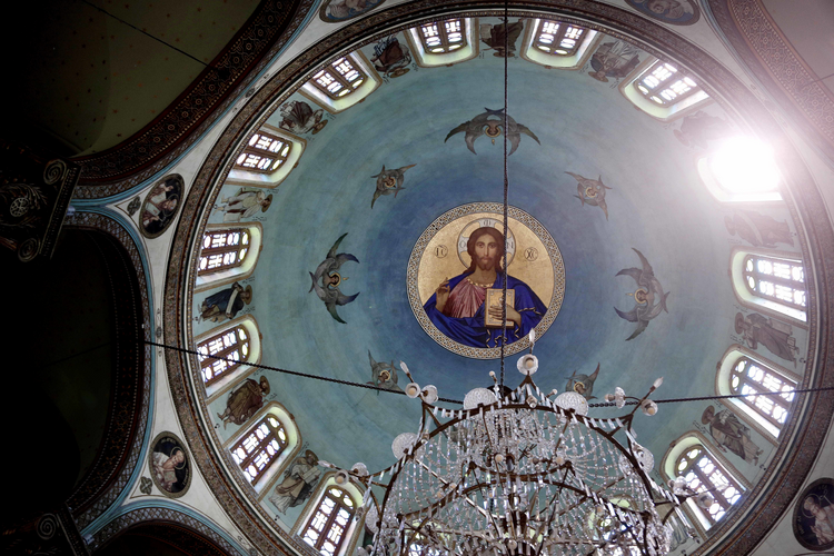 A painting of Jesus Christ on the ceiling of St. George Church in Old Cairo, Egypt, Tuesday, Aug. 30, 2016. (AP Photo/Nariman El-Mofty)