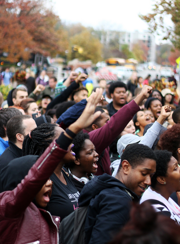 "University of Missouri students chant ""join the revolution"" in Speaker's Circle on Nov. 5, 2015, during a Concerned Student 1950 demonstration. Religion News Service photo by Hanna Yowell"