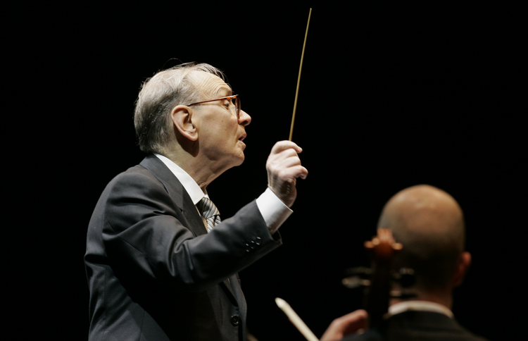 Ennio Morricone conducts during the Mawazine Festival in Rabat, Morocco, in 2009.
