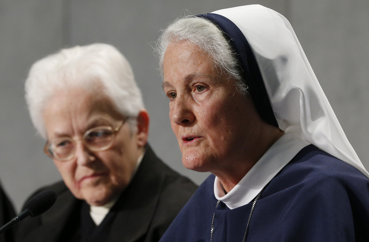 Mother Agnes Mary Donovan, chairperson of the Council of Major Superiors of Women Religious, speaks during Vatican press conference for release of final report of Vatican-ordered investigation of U.S. communities of women religious, Dec. 16, 2014. (CNS photo/Paul Haring)