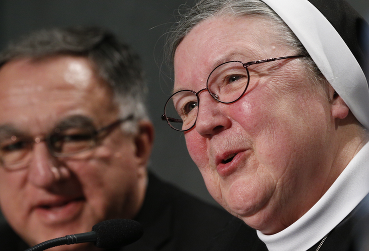 Mother Mary Clare Millea speaks during Vatican press conference for release of final report of Vatican-ordered investigation of U.S. communities of women religious, Dec. 16 (CNS photo/Paul Haring).