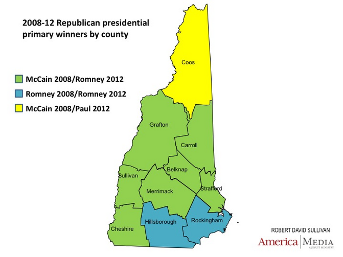 Not all New Hampshire counties are of equal weight in predicting the party nominees.