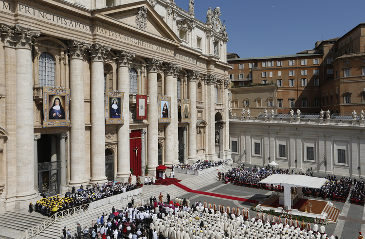 Pope Francis celebrates canonization Mass for four new saints in St. Peter's Square at Vatican, May 17.