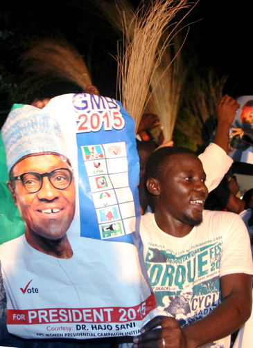 Supporters of President-elect Muhammadu Buhari celebrate in Abuja, Nigeria, March 31. (CNS photo/Stringer, Reuters)