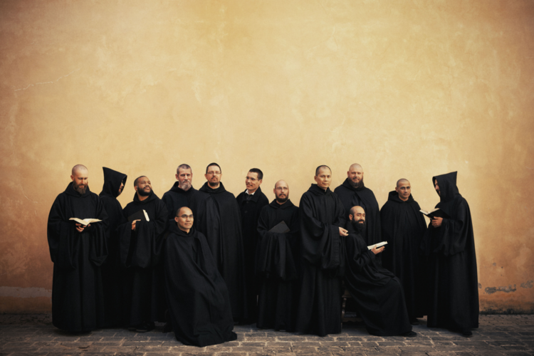 The Singing monks of Norcia, Italy: Father Cassian Folsom is fifth from left.