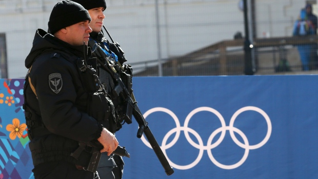 Russian security forces patrol the streets as preparations continue for the 2014 Sochi Winter Olympics. (Sergei Karpukhin/Reuters)