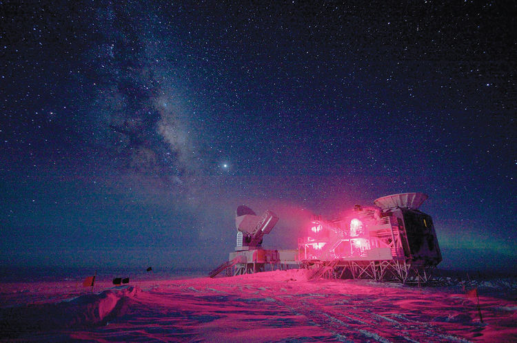 COSMIC TIME. The South Pole Telescope and the Background Imaging of Cosmic Extragalactic Polarization experiment  at the Amundsen-Scott South Pole Station.