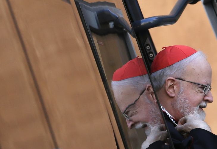 U.S. Cardinal O'Malley arrives for meeting at synod hall in Vatican (CNS photo/Max Rossi, Reuters).