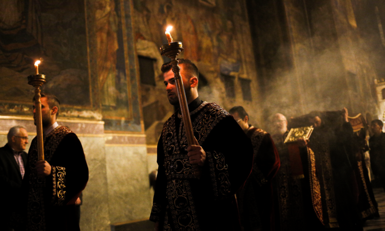 Image: Bulgarian Orthodox men take part in a Good Friday liturgy at St. Alexander Nevsky Orthodox Cathedral in Sofia April 10, 2015. (CNS photo/Stoyan Nenov, Reuters)