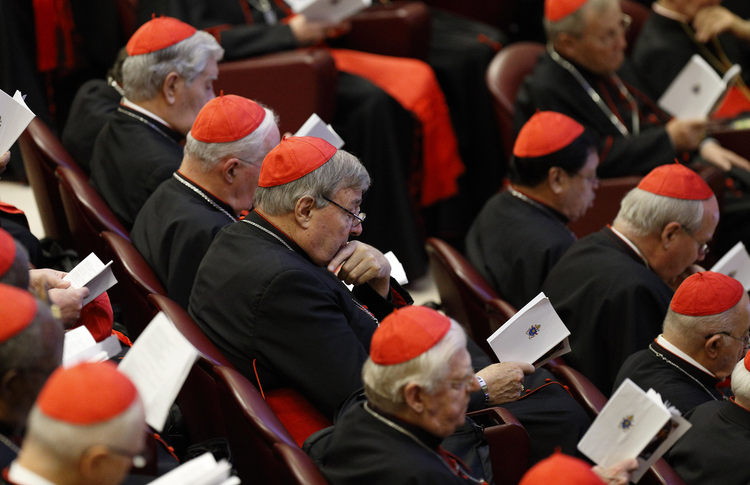 Australian Cardinal George Pell, prefect of the Vatican Secretariat for the Economy, center, participates in prayer at the start of a session of the Synod of Bishops on the family at the Vatican, Oct. 15 (CNS photo/Paul Haring).