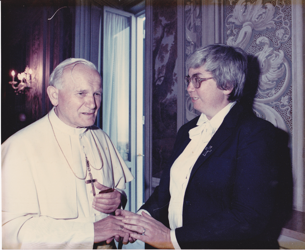 Pope John Paul II and Sister Mary Ann met while she covered Rome for Catholic News Service from 1983 to 1986. Photo courtesy of L'Osservatore Romano.