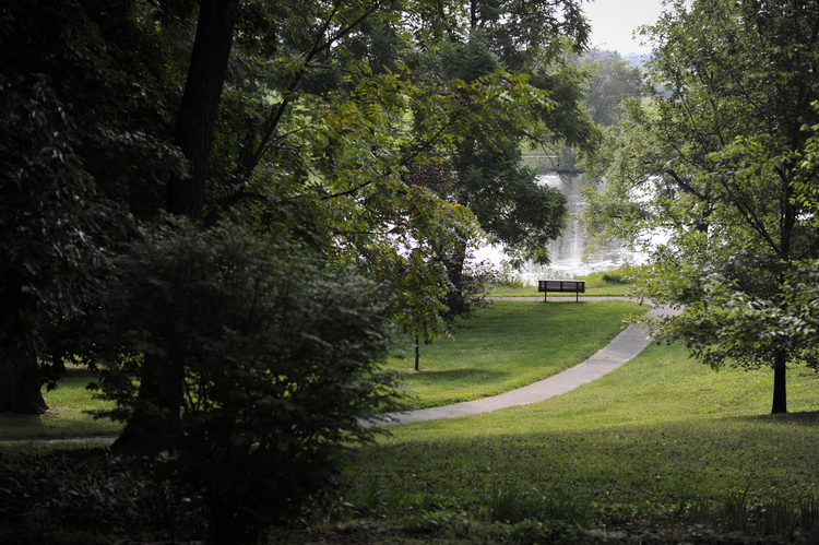 Mary's Lake is seen through trees on Sisters of Loretto property near proposed natural gas liquid pipeline in Kentucky