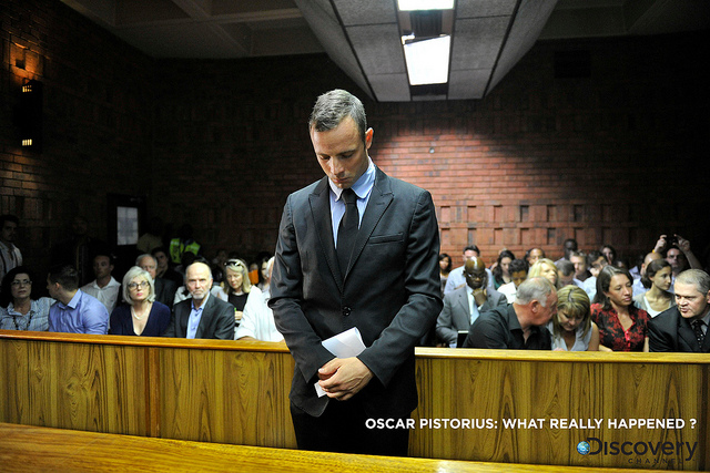 Oscar Pistorius appears for a bail hearing in the Pretoria Magistrate Court in February 2013. (Photo by Gallo Images / City Press / Herman Verwey)
