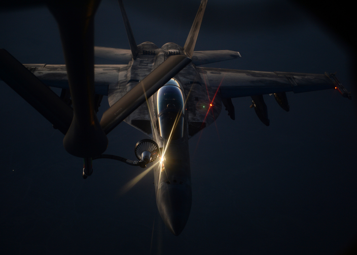 A U.S. Air Force fighter jet refueling over northern Iraq, Aug. 21 (courtesy U.S. Department of Defense).