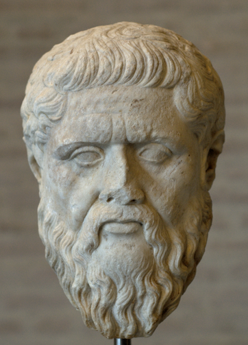 Plato, wondering why Harvard students don't major in the humanities. (Courtesy of Wikimedia.)