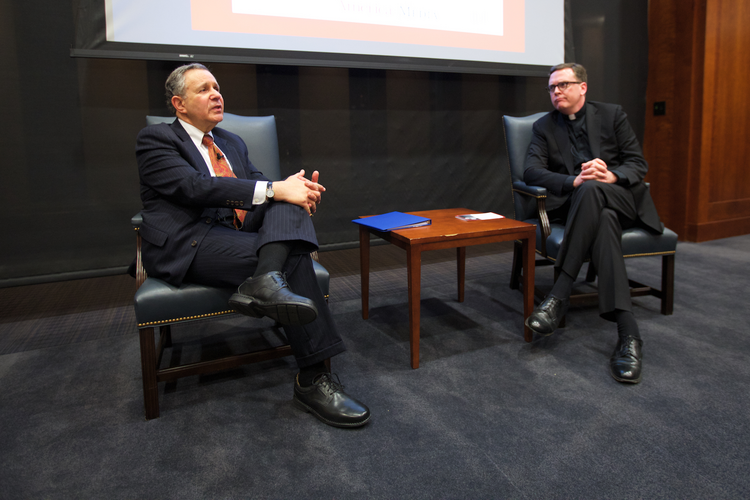 Q and A. Rabbi Polish is joined by America Editor-in-Chief Matt Malone after he delivered America Media's annual John Courtney Murray lecture on Jan. 12. (Photo by Ashley McKinless)