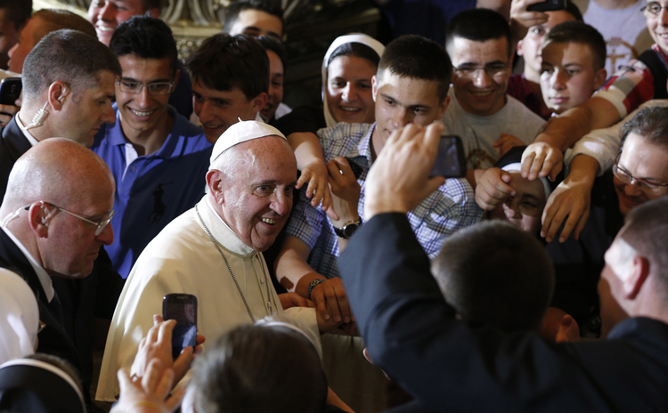 Pope Francis arrives for meeting with priests, men and women religious and seminarians in Sacred Heart Cathedral in Sarajevo, Bosnia-Herzegovina, June 6.