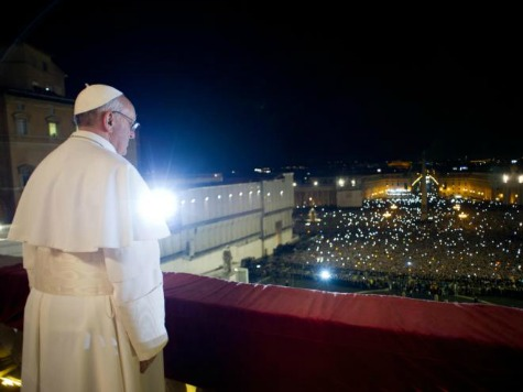 The newly elected Pope Francis before the multitudes, March 13, 2013.