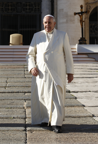 Pope Francis leaves general audience in St. Peter's Square, Dec. 10 (CNS photo/Paul Haring).