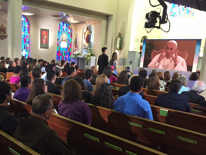 Members of Sacred Heart Church in McAllen, Texas, participate in virtual town hall meeting with Pope Francis.