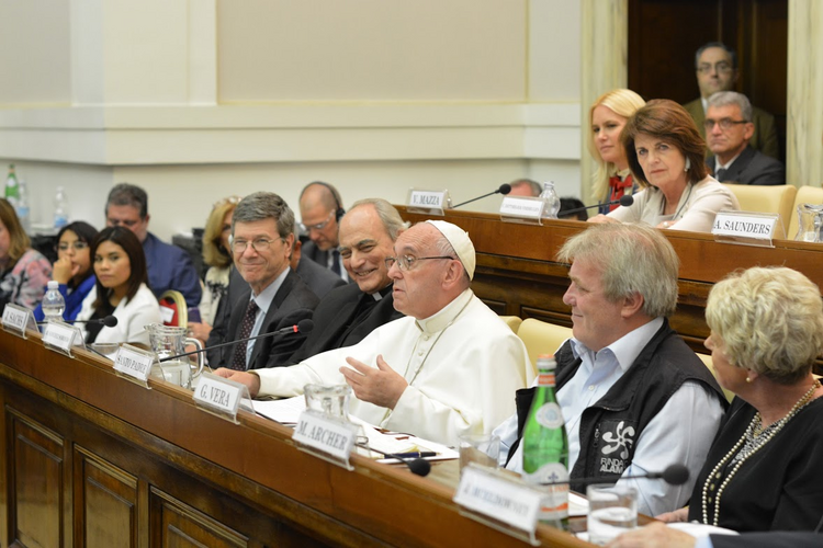 Judging Wising. Pope Francis addresses Vatican summit on combating human trafficking. Photo courtesy of Pontifical Academy of Social Sciences