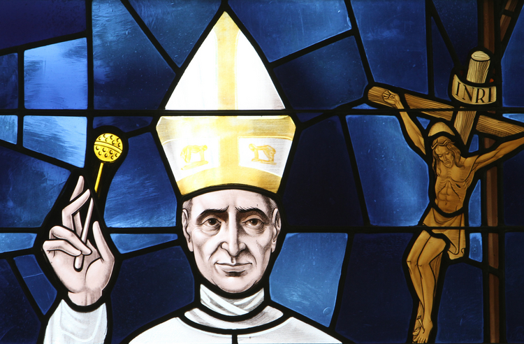 Pope Paul VI is depicted in a stained-glass window at St. Anthony of Padua Church in East Northport, N.Y. The pope will be beatified Oct. 19, the final day of the extraordinary Synod of Bishops on the family. (CNS photo/Gregory A. Shemitz)