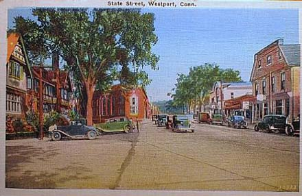 Connecticut became reliably Democratic only when affluent suburbs like Westport started supporting the party. (1937 postcard from Wikimedia Commons)