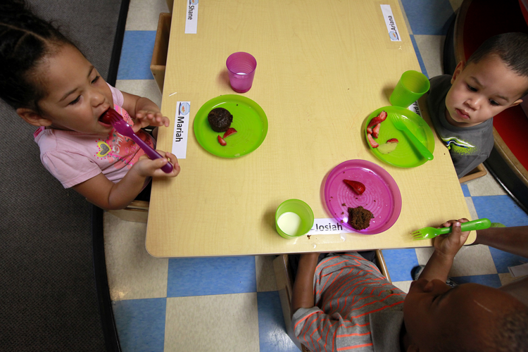 Snack time at a Head Start anti-poverty program in Baltimore