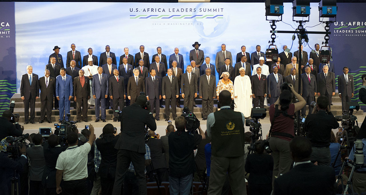President Obama with African leaders on the final day of the U.S.-Africa Leaders Summit at the U.S. Department of State in Washington, D.C., on Aug. 6, 2014. (State Department photo/Public Domain)