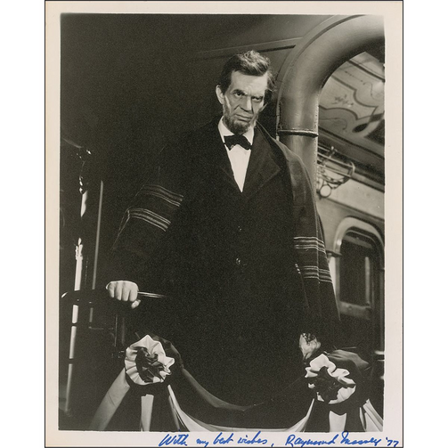 "Raymond Massey in the title role, ""Abe Lincoln in Illinois"""
