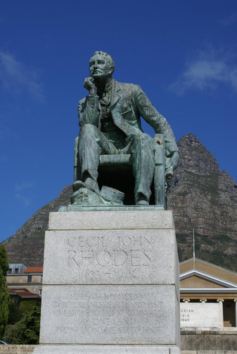 The statue at the centre of the #RhodesMustFall Protest at the University of Cape Town